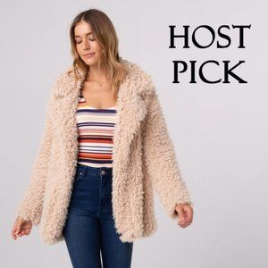 Thread & Supply faux fur shearling coat jacket, L